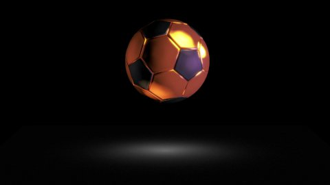 3D gold football bounce 02 - stock footage