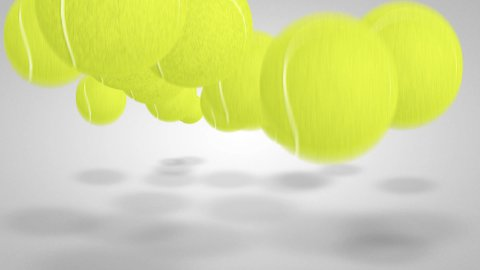 3D Tennis ball bounce 05 - stock footage