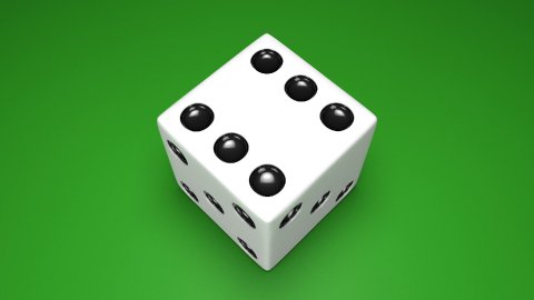 3D Dice turn around 03-green - stock footage