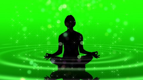 Human silhouette meditating LOOP - stock footage