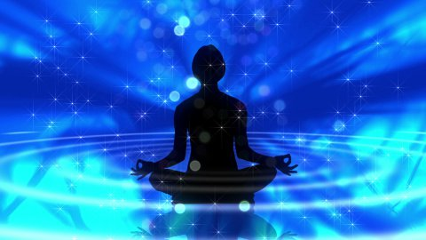 Human silhouette meditating on blue LOOP - stock footage