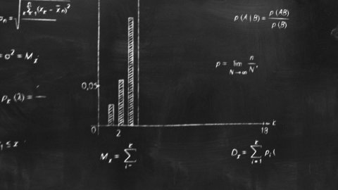 math physics formulas on chalkboard flying camera - stock footage