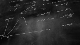 math physics formulas on chalkboard tilting loop - motion graphic