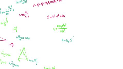 multicolor math physics formulas on white panning loop - stock footage