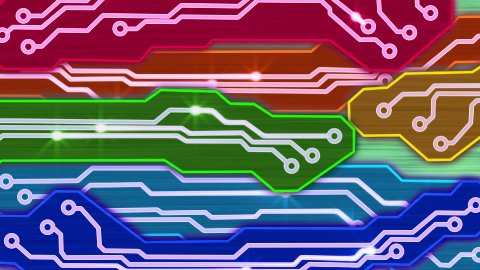 colorful waving electronic circuit plates loop - stock footage