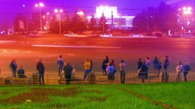 crowd at public transport stop urban night timelapse - motion graphic
