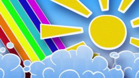 sun rainbow and clouds in sky loop animation luma matte - motion graphic