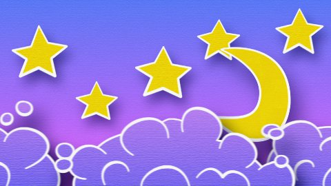 moon stars and clouds in sky loop animation luma matte - stock footage