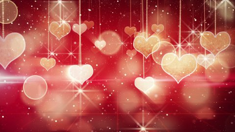 shining hearts dangling on strings and glares loop - stock footage