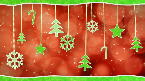 christmas hanging decorations loopable red green background - stock footage