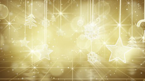 gold christmas hanging decorations loopable flying - stock footage