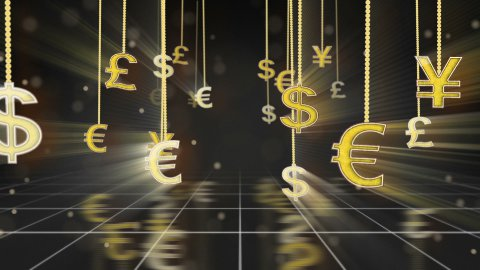 currency signs dangling on strings camera dolly loop - stock footage