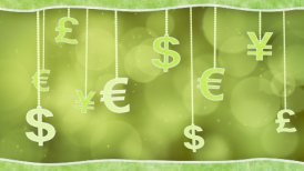 green currency signs dangling on strings loop background - motion graphic