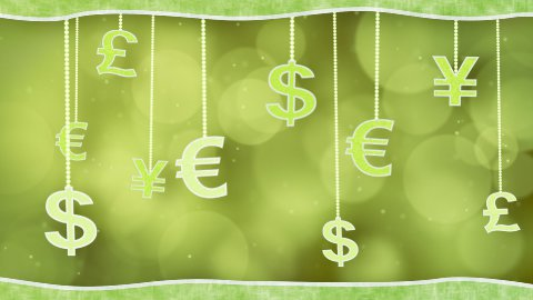 green currency signs dangling on strings loop background - stock footage
