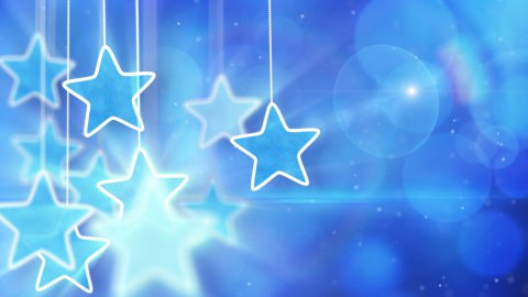 blue hanging stars and bokeh lights loop background - stock footage