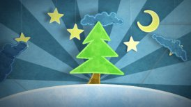 winter scene with christmas tree loop - motion graphic