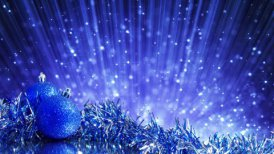 blue christmas balls and blinking particles loop - motion graphic