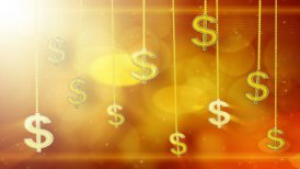 shiny dollar signs dangling on strings loop background - motion graphic