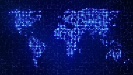 digital blue world map loop - motion graphic
