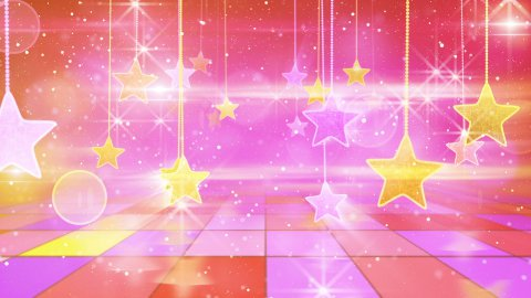 flying past by multicolored hanging stars loopable - stock footage