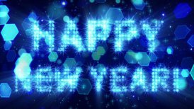 happy new year from blue particles loop - motion graphic