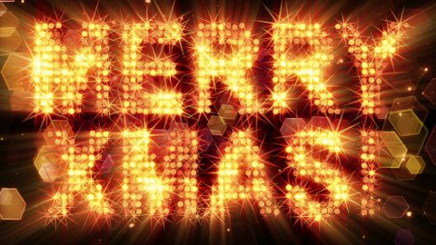 merry xmas from yellow particles loop - stock footage