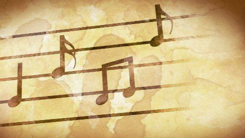 music notes on old paper loop - stock footage