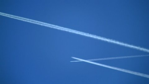 Plane trails 04 - stock footage