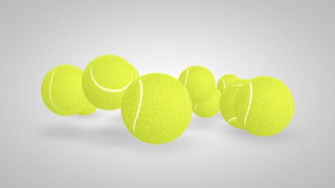 3D tennis balls bounce 04 - stock footage