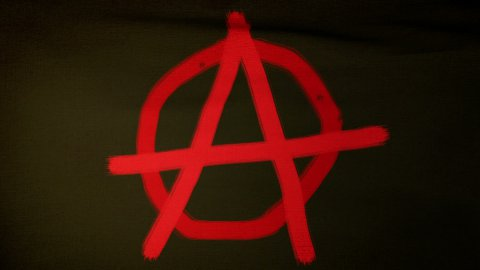 Anarchist flag 04 - stock footage