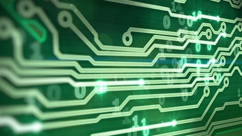 green circuit board providing signals 3d animation - stock footage