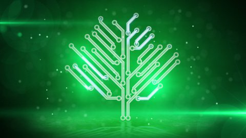 green electronic hi-tech tree loop - stock footage