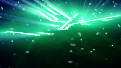growing circuit board green 3d - stock footage