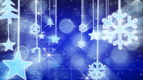 blue christmas hanging decorations loopable flying - stock footage