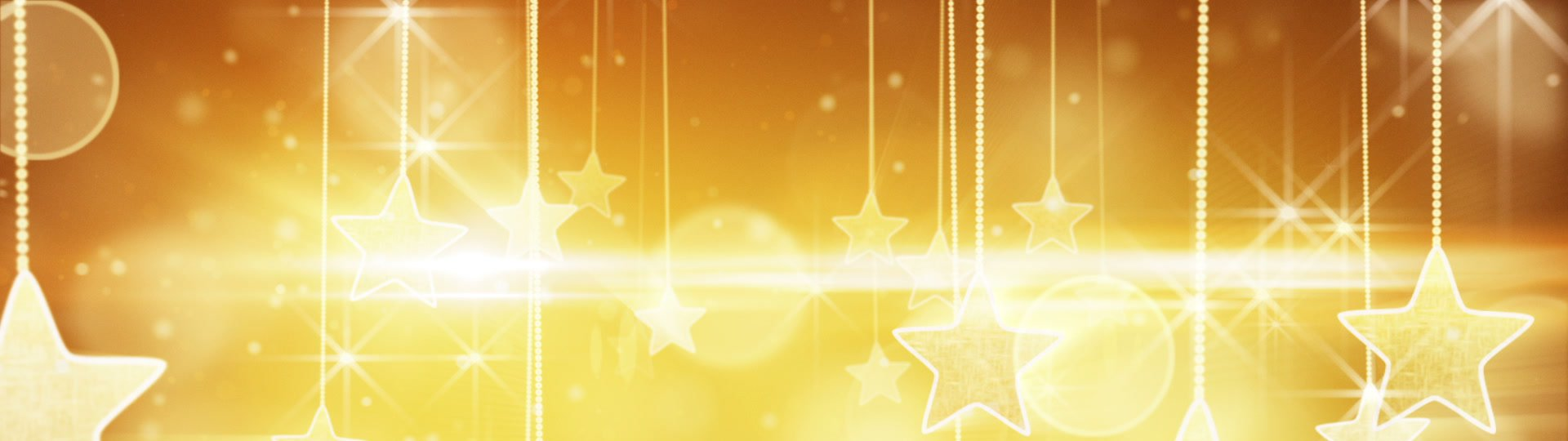 Flying past by gold hanging stars loopable | flying past by gold hanging stars. computer generated seamless loop holidays motion background. HD 1080p - ID:13660
