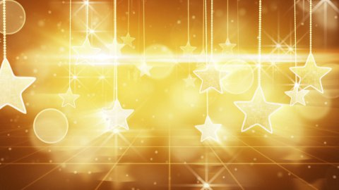 flying past by gold hanging stars loopable - stock footage