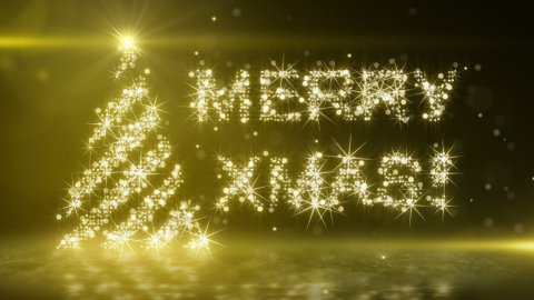 gold light christmas tree last 10s loop - stock footage