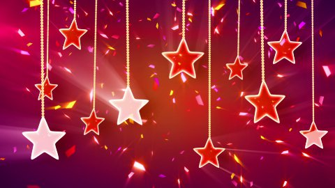 red shiny stars and confetti background loop - stock footage
