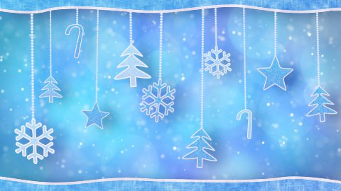 christmas hanging decorations loopable blue background - stock footage
