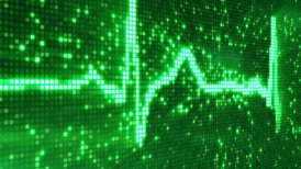 digital pixel EKG electrocardiogram pulse green loopable background - motion graphic
