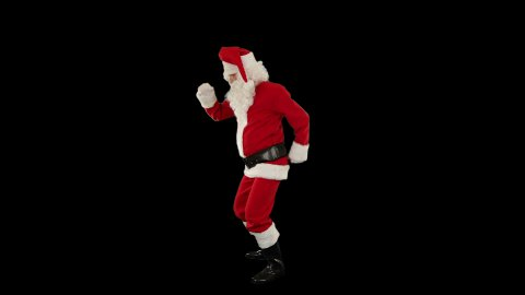 Santa Claus Dancing against Black, Dance 4 - stock footage