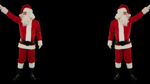 Santa Claus Dancing against Black, Dance 7 - stock footage