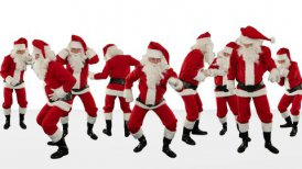 Bunch of Santa Claus Dancing Against White, Christmas Holiday Background - motion graphic