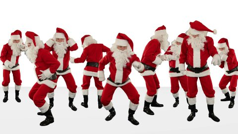 Bunch of Santa Claus Dancing Against White, Christmas Holiday Background - stock footage