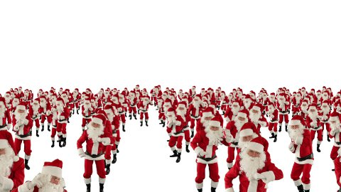 Santa Claus Crowd Dancing, Christmas Party cam fly over, against white  - stock footage