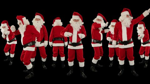 Bunch of Santa Claus Dancing Against Black, Christmas Holiday Background