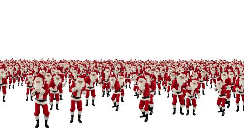 Santa Claus Crowd Dancing, Christmas Party 2013 Shape, against white  - stock footage