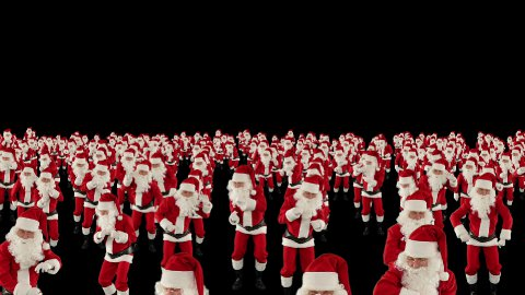 Santa Claus Crowd Dancing, Christmas Party cam fly over, against black  - stock footage