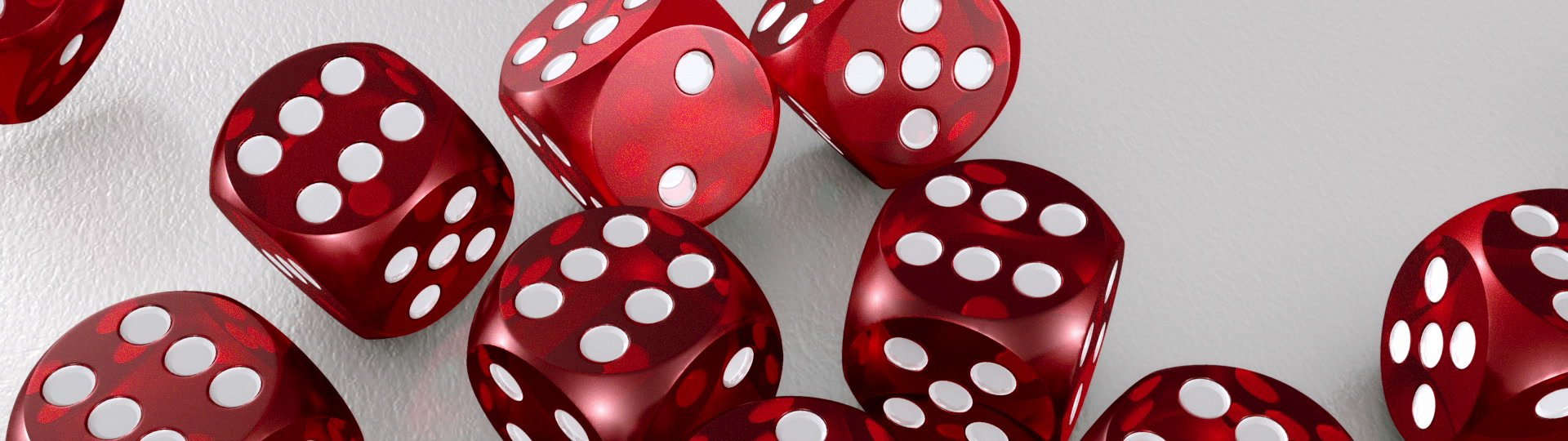 Many Red Dices | 3D Red rolling dices on white. Result: 6 on each die. - ID:13823