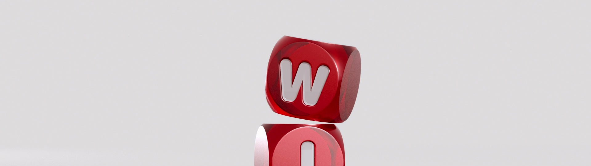 WIN Dices | 3D Red rolling dices on white. Result: word WIN - ID:13825